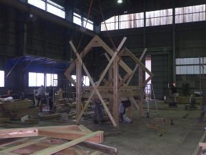 木製遊具仮組み状況